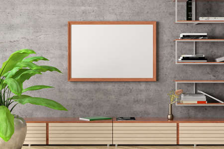 Horizontal blank poster mock up on concrete wall in interior of industrial style living room. 3d illustration Standard-Bild