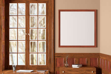 Square blank poster frame mock up on beige wall in interior of traditional style living room. 3d illustration