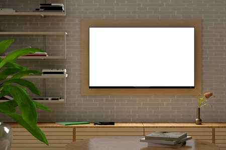 Glowing blank TV screen mock up at night on the white brick wall of modern living room. 3d illustration