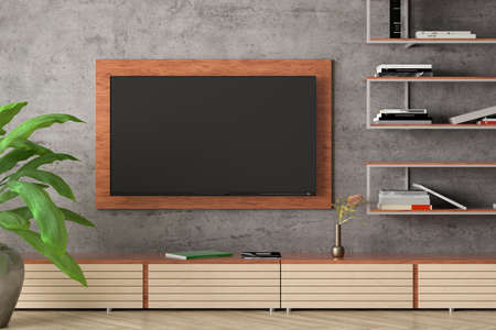 Blank TV screen mock up on the concrete wall of modern living room. 3d illustration