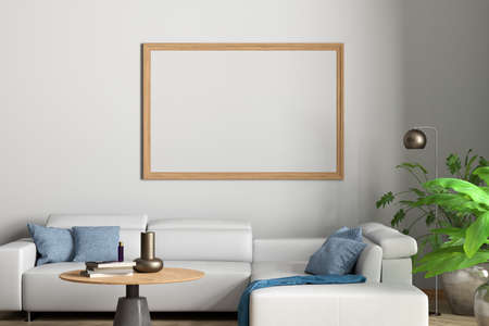 Horizontal blank poster mock up on white wall in interior of contemporary living room. 3d illustration