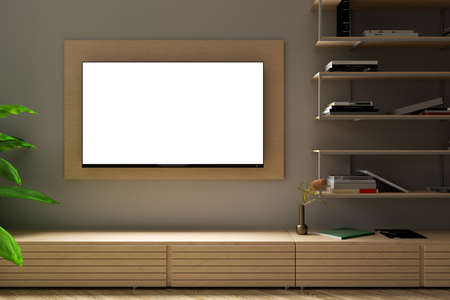 Glowing blank TV screen mock up at night on the white wall of modern living room. 3d illustration