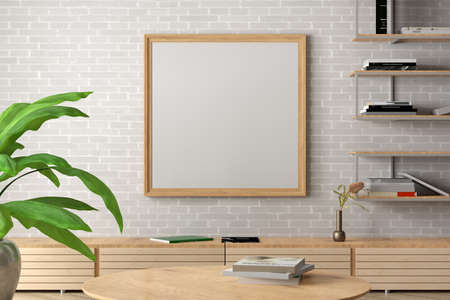 Square blank poster frame mock up on white brick wall in interior of industrial style living room. 3d illustration Standard-Bild