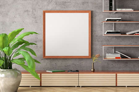 Square blank poster mock up on concrete wall in interior of industrial style living room. 3d illustration