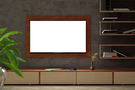 Glowing blank TV screen mock up at night on the concrete wall of modern living room. 3d illustration