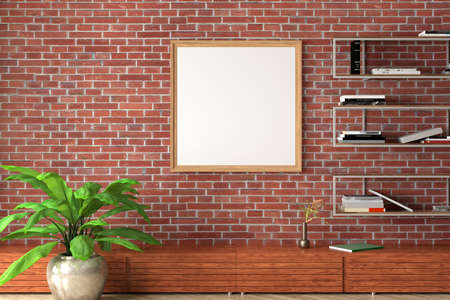 Square blank poster mock up on red brick wall in interior of industrial style living room. 3d illustration Standard-Bild