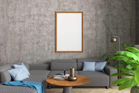 Vertical blank poster frame mock up on concrete wall in interior of contemporary living room. 3d illustration