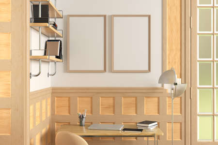 Two vertical blank posters mock up on white wall in interior of traditional style living room. 3d illustration