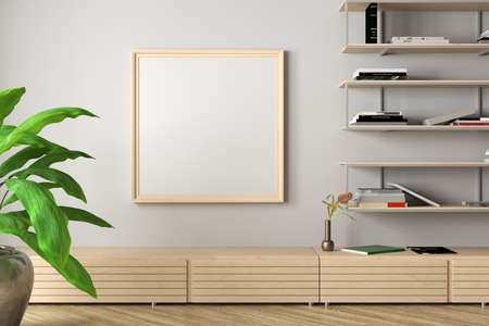 Square blank poster frame mock up on white wall in interior of contemporary living room. 3d illustration Standard-Bild