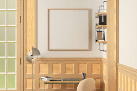 Square blank poster frame mock up on white wall in interior of traditional style living room. 3d illustration