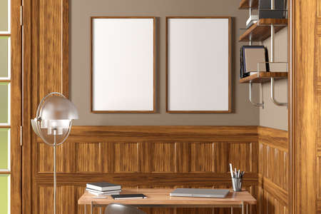Two vertical blank posters mock up on beige wall in interior of traditional style living room. 3d illustration
