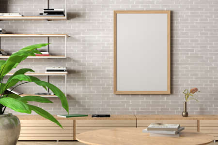 Vertical blank poster mock up on white brick wall in interior of contemporary living room. 3d illustration Standard-Bild
