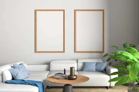 Two vertical blank posters mock up on white wall in interior of contemporary living room. 3d illustration Standard-Bild