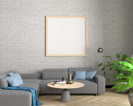 Square blank poster mock up on white brick wall in interior of industrial style living room. 3d illustration