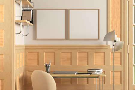 Square blank posters mock up on white wall in interior of traditional style living room. 3d illustration