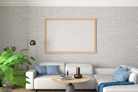 Horizontal blank poster mock up on white brick wall in interior of contemporary living room. 3d illustration Standard-Bild