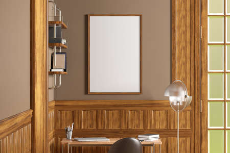 Vertical blank poster frame mock up on beige wall in interior of traditional style living room. 3d illustration Standard-Bild