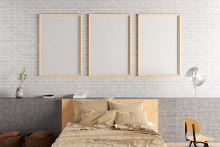 Three vertical blank poster frames mock up on the white brick wall in interior of loft bedroom. 3d illustration