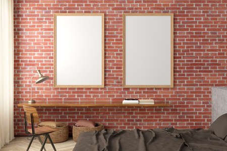 Two vertical blank posters frames mock up on the ed brick wall in interior of loft bedroom. 3d illustration