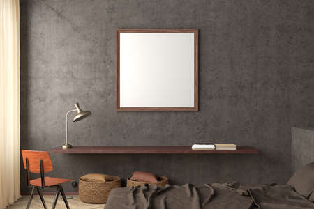 Square blank poster frame mock up on the concrete wall in interior of industrial bedroom. 3d illustration