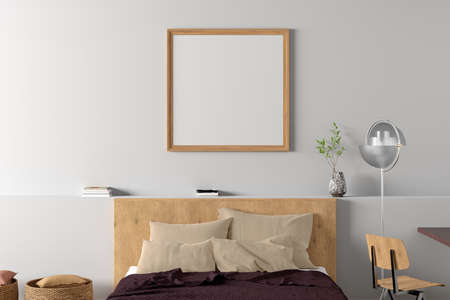 Square blank poster frame mock up on the white wall in interior of modern bedroom. 3d illustration