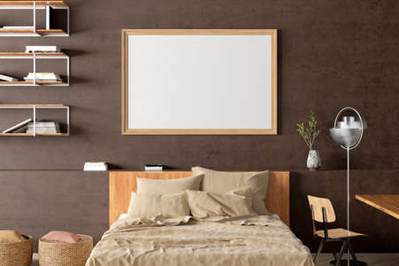 Horizontal blank poster frame mock up on the brown concrete wall in the industrial style interior of bedroom. 3d illustration