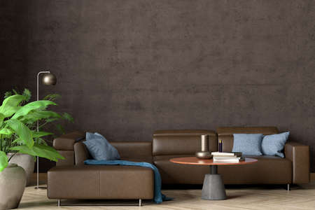 Blank brown concrete wall of industrial living room mock up. 3d illustration