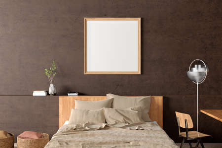 Square blank poster frame mock up on the brown concrete wall in interior of industrial bedroom. 3d illustration