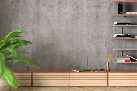 Blank concrete wall of industrial style living room mock up. 3d iluustration