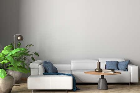 Blank white wall of modern living room mock up. 3d illustration