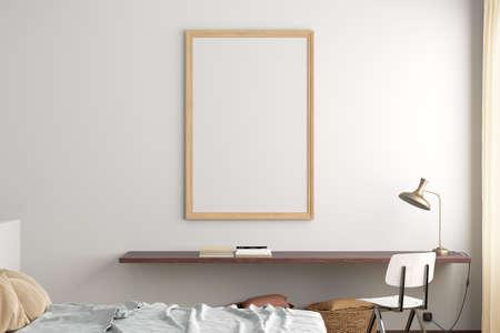 Vertical blank poster frame mock up on the white wall in interior of modern bedroom. 3d illustration