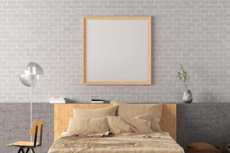 Square blank poster frame mock up on the white brick wall in interior of loft style bedroom. 3d illustration Standard-Bild
