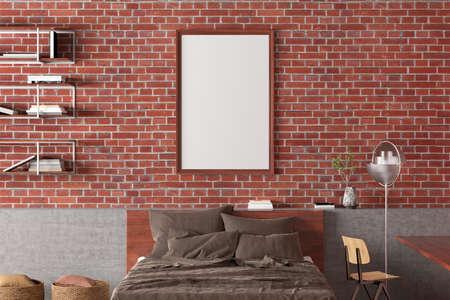 Vertical blank poster frame mock up on the red brick wall in interior of loft bedroom. 3d illustration