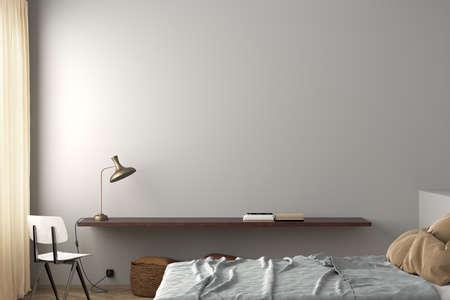 Blank white wall of modern bedroom mock up. 3d illustreation