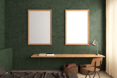 Two vertical blank posters frames mock up on the green concrete wall in interior of industrial style bedroom. 3d illustration
