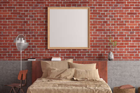 Square blank poster frame mock up on the red brick wall in interior of loft style bedroom. 3d illustration
