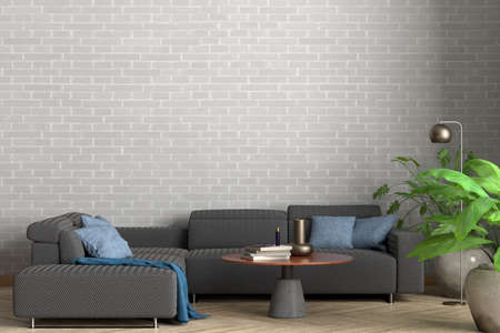 Blank white brick wall of the loft style living room mock up. 3d illustration