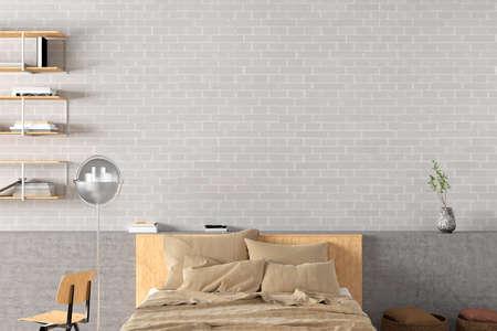 Blank white brick wall of loft style bedroom mock up. 3d illustration