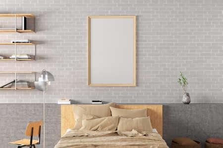 Vertical blank poster frame mock up on the white brick wall in interior of loft bedroom. 3d illustration