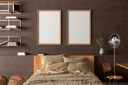 Two vertical blank posters frames mock up on the brown concrete wall in interior of industrial bedroom. 3d illustration Standard-Bild