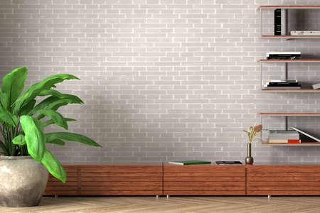 Blank white wall of loft style living room mock up. 3d illustration