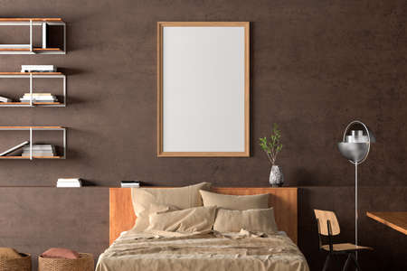 Vertical blank poster frame mock up on the brown concrete wall in interior of industrial bedroom. 3d illustration