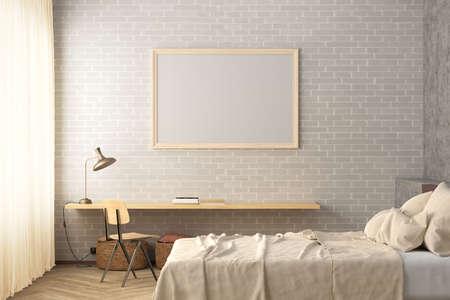 Horizontal blank poster frame mock up on the white brick wall in interior of loft bedroom. 3d illustration Standard-Bild
