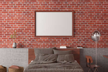Horizontal blank poster frame mock up on the red brick wall in interior of loft bedroom. 3d illustration