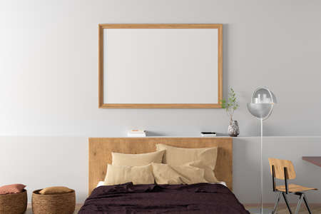 Horizontal blank poster frame mock up on the white wall in interior of modern bedroom. 3d illustration