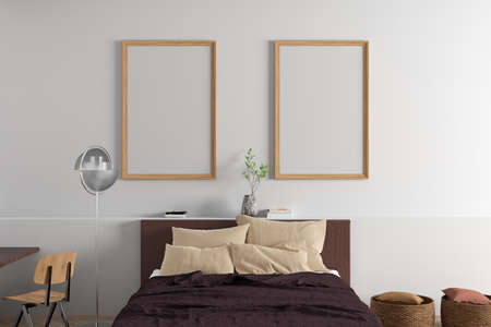 Two vertical blank posters frames mock up on the white wall in interior of modern bedroom. 3d illustration