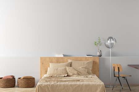 Blank white wall of modern bedroom mock up. 3d illustration