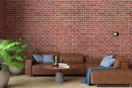 Blank red brick wall of loft living room mock up. 3d illustration