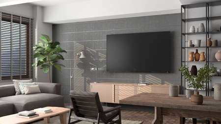TV screen mock up on the concrete wall in modern living room. 3d illustration