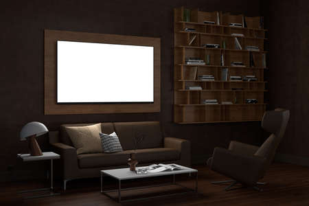 Glowing TV screen mock up at night in the living room with brown wall. 3d illustration Standard-Bild